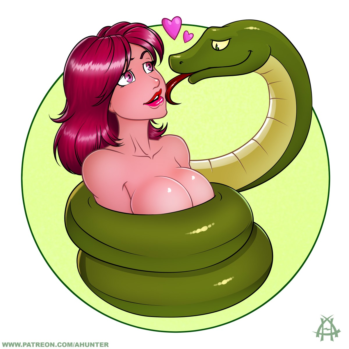 A buxom naked babe is coiled by a constrictor snake which looks likely to eat her -- much to her delight.  Illustration by Andrew Hunter.